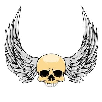 Illustrazione del cranio testa con ali lunghe