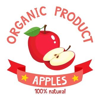 Illustrazione di frutti biologici sani distintivo di cartone animato di mela fresca di fattoria con nastro