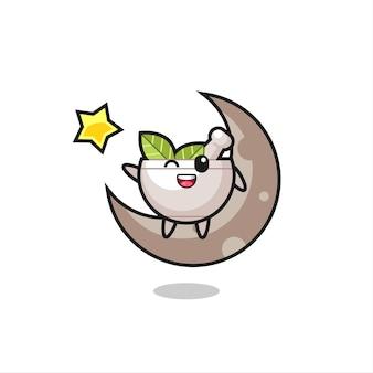 Illustrazione del fumetto della ciotola di erbe seduto sulla mezza luna, design in stile carino per maglietta, adesivo, elemento logo