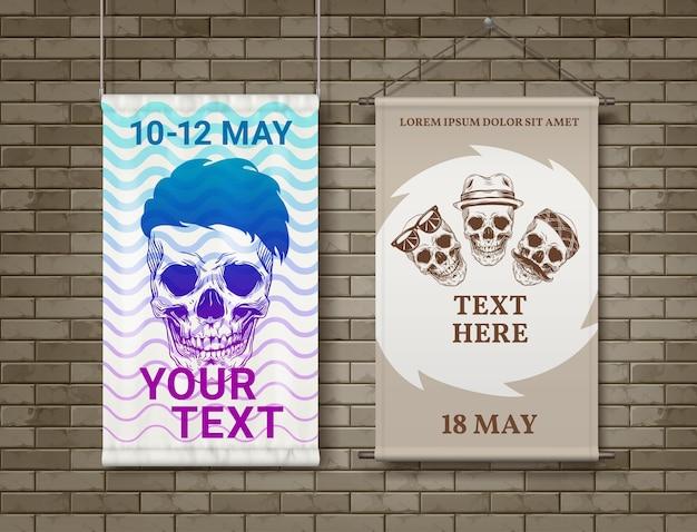 Illustrazione di teschi hipster con taglio di capelli e baffi in bandana o cappello stampato sul poster