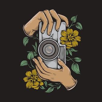 Illustrazione di tenere una macchina fotografica d'epoca