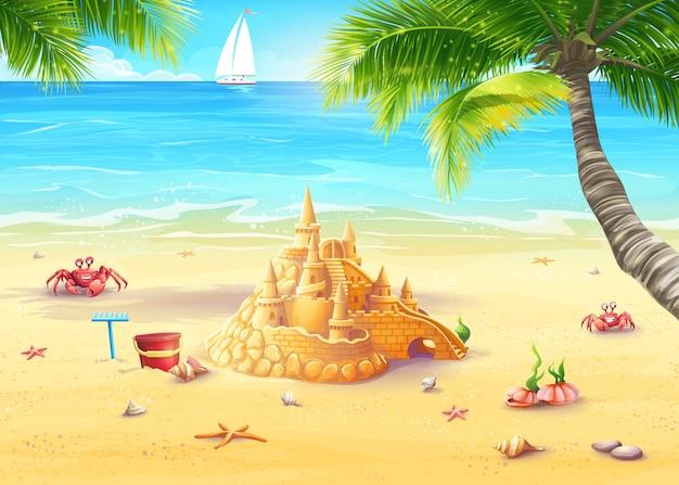 Illustrazione vacanza in riva al mare con castello di sabbia e allegri funghi