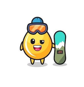 Illustrazione del personaggio goccia di miele con stile snowboard, design in stile carino per t-shirt, adesivo, elemento logo