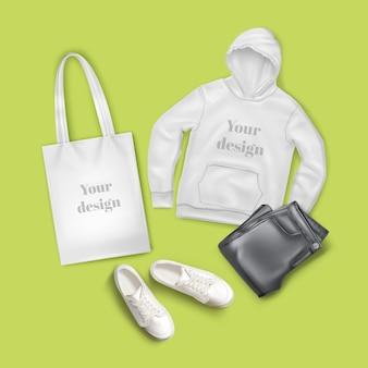 Illustrazione di felpa con cappuccio, jeans neri, borsa di tela bianca e scarpe da ginnastica, vestiti di moda casual e set di accessori