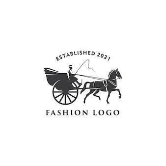 Illustrazione carrello di cavalli disegnato classico modello di progettazione logo retrò