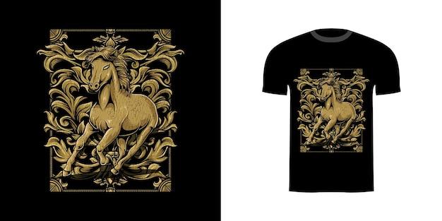 Illustrazione cavallo con incisione ornamento per il design della maglietta Vettore Premium