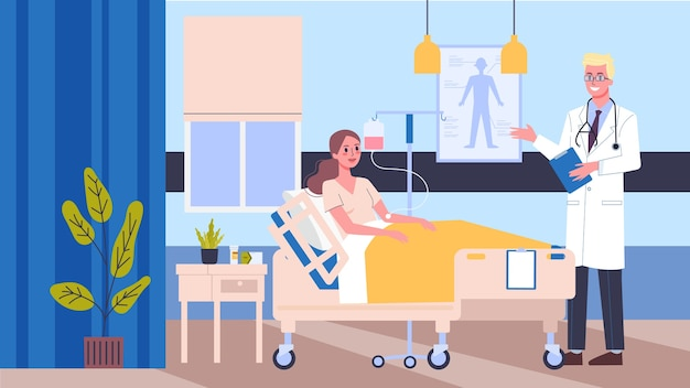 Illustrazione stanza d'ospedale. medico e infermiere che controllano i pazienti. concetto di cure mediche.