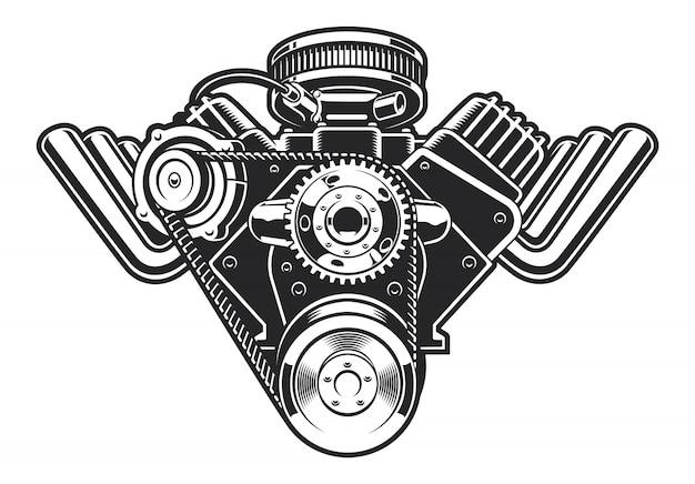 Illustrazione di un motore hot rod su uno sfondo bianco.