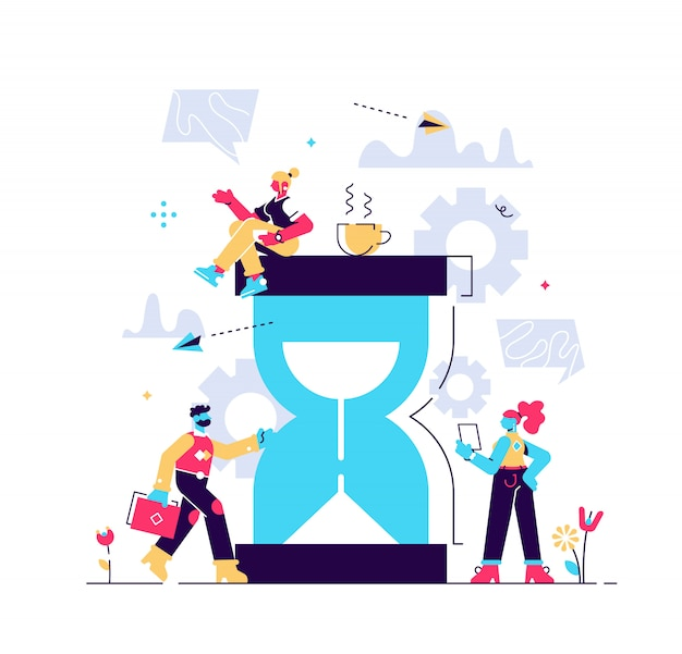 Illustrazione, clessidra su sfondo bianco, concetto di gestione del tempo, risposta rapida. stile illustrazione vettoriale moderno per pagina web, carte, poster