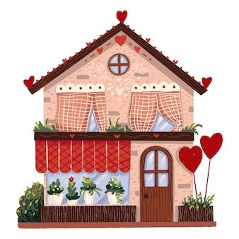 Negozio di fiori casa di illustrazione con palloncini a forma di cuori per san valentino