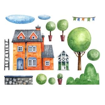 Illustrazione di una casa, serra, albero, cespuglio, nuvole e un recinto disegnato a mano in acquerello. insieme di elementi isolati su uno sfondo bianco architettura e dintorni.