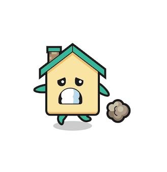 Illustrazione della casa che corre per la paura, design carino