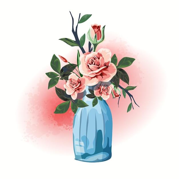 Illustrazione articoli per la casa regalo bottiglia decorata con fiori.