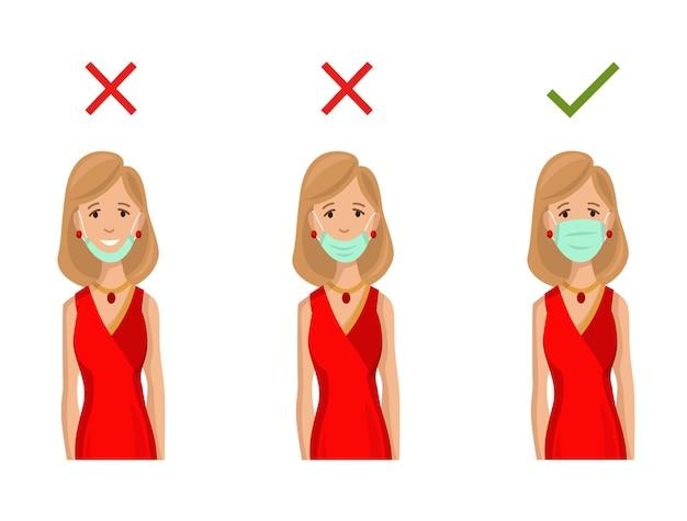 Illustrazione come indossare correttamente la maschera facciale. metodo sbagliato di indossare una maschera