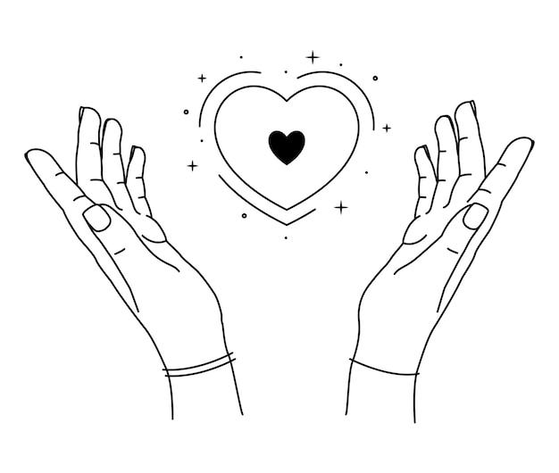 Illustrazione delle mani umane che tengono il cuore. linea arte disegnata a mano.