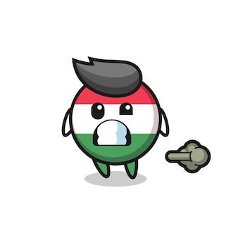 L'illustrazione del cartone animato distintivo della bandiera dell'ungheria che fa scoreggia, design in stile carino per maglietta, adesivo, elemento logo