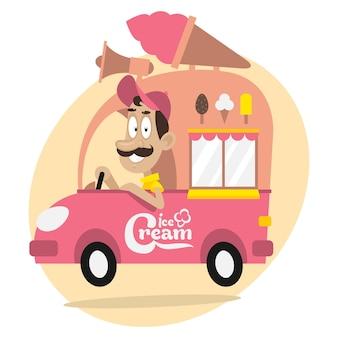 Illustrazione, camioncino dei gelati e autista allegro, formato eps 10