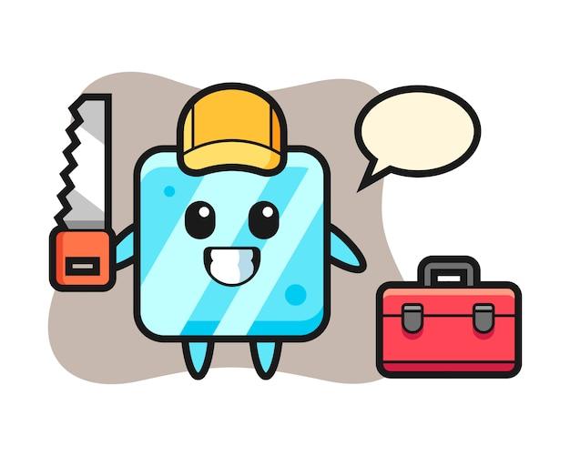 Illustrazione del carattere del cubo di ghiaccio come falegname