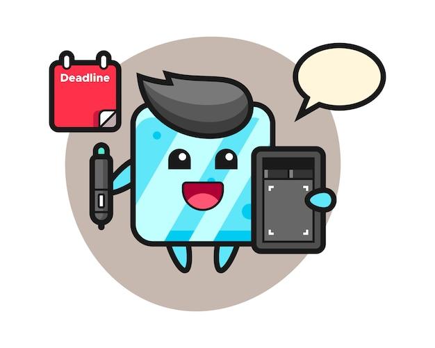 Illustrazione della mascotte del cubo di ghiaccio come grafico
