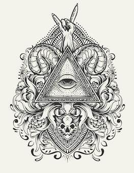 Illustrazione simbolo degli illuminati con ornamento incisione vintage
