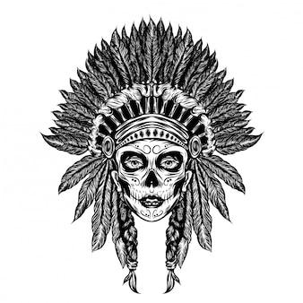 Illustrazione illustrazione della ragazza utilizza il cappello tradizionale indiano