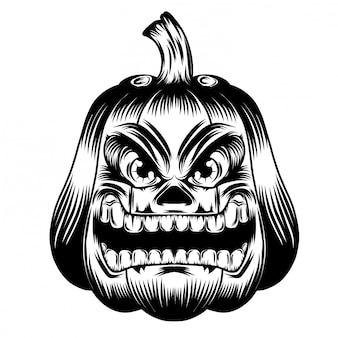 Illustrazione illustrazione con zucche grande bocca e occhi