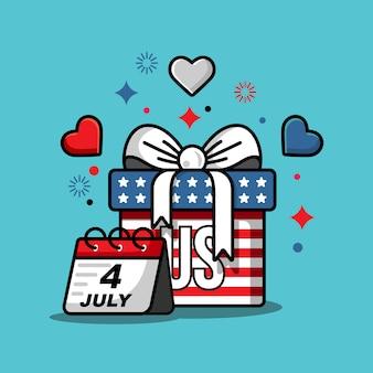 Illustrazione della festa dell'indipendenza del 4 luglio con tema bandiera americana, palloncini, skyline e regali di compleanno
