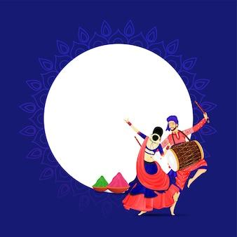 Illustrazione di coppia indiana esecuzione di danza con strumento dhol