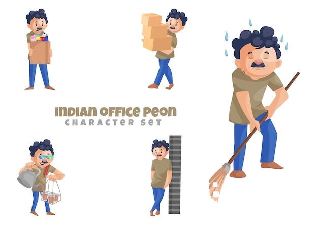 Illustrazione del set di caratteri del peone dell'ufficio indiano