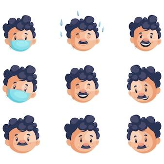 Illustrazione del set di caratteri del viso del peone dell'ufficio indiano