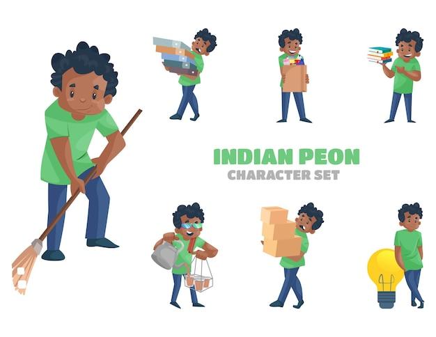 Illustrazione del set di caratteri del peone indiano