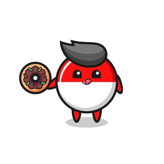 Illustrazione di un personaggio distintivo della bandiera dell'indonesia che mangia una ciambella, design in stile carino per maglietta, adesivo, elemento logo