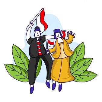 Illustrazione della festa dell'indipendenza indonesiana