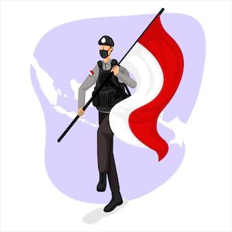 Illustrazione della polizia indonesiana il giorno dell'indipendenza indonesiana
