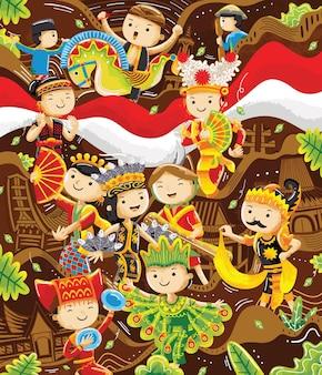 Illustrazione della cultura tradizionale indonesiana in stile design piatto