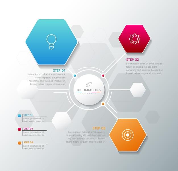 Illustrazione infografica modello di progettazione grafico di presentazione delle informazioni aziendali con 3 passaggi