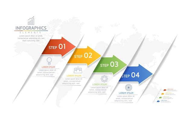Illustrazione infografica modello di progettazione grafico di presentazione delle informazioni aziendali con 4 passaggi