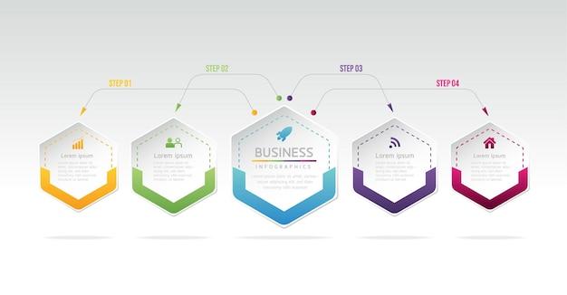 Illustrazione infografica modello di progettazione grafico di presentazione delle informazioni aziendali con 5 passaggi