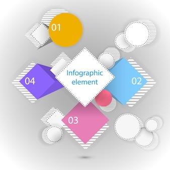 Illustrazione di elementi infografici cerchi e quadrati