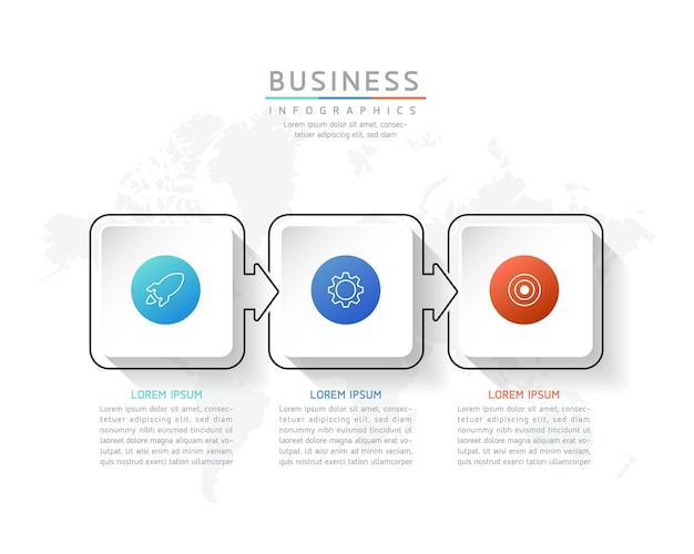 Illustrazione infografica modello di progettazione informazioni di marketing con 3 opzioni o passaggi