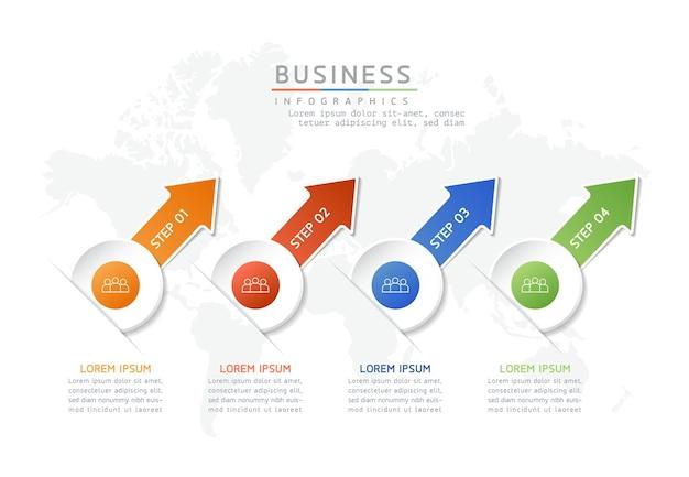 Illustrazione infografica modello di progettazione informazioni di marketing con 4 opzioni o passaggi