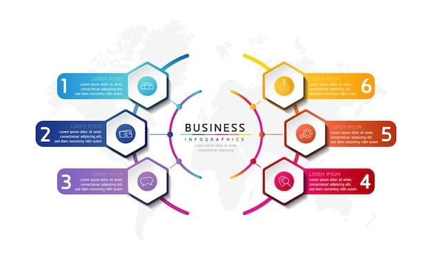 Illustrazione infografica modello di progettazione informazioni di marketing con 5 opzioni o passaggi