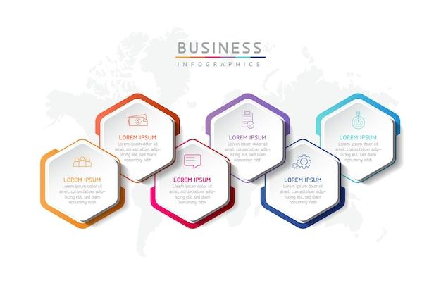 Illustrazione infografica modello di progettazione informazioni di marketing con 6 opzioni o passaggi