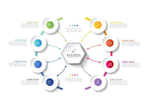 Illustrazione infografica modello di progettazione informazioni di marketing con 8 opzioni o passaggi