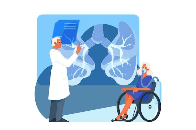 Illustrazione dell'assistenza sanitaria innovativa. concetto di trattamento della medicina moderna, ambiente virtuale in ospedale. paziente che utilizza la tecnologia medica virtuale. un'idea di innovazione clinica