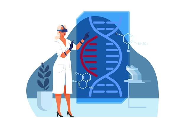 Illustrazione della sanità innovativa e della ricerca medica. concetto di trattamento della medicina moderna, competenza, diagnostica. ambiente virtuale e robotico in ospedale.