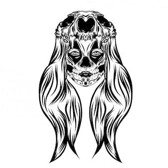 Illustrazione ispirazione ragazza con le donne con testa teschio animale