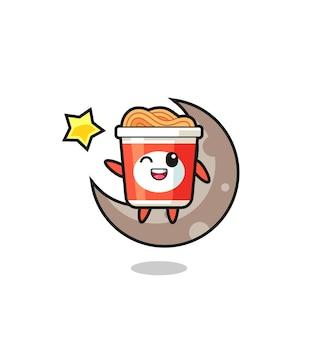 Illustrazione del fumetto di noodle istantaneo seduto sulla mezza luna, design in stile carino per maglietta, adesivo, elemento logo
