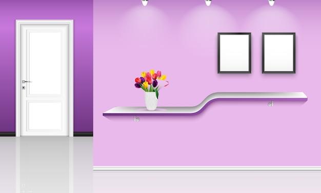 Illustrazione di interior design con sfondo viola muro