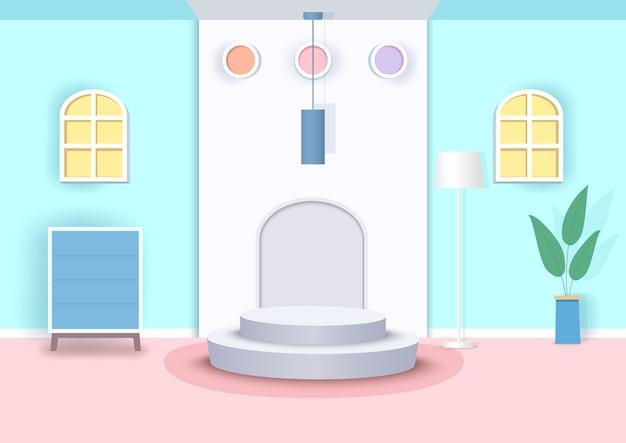 Illustrazione scena interna con podio cilindro.